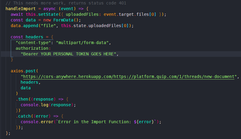 a snippet of react code showing an upload function