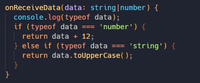 typescript code showing the use of union type