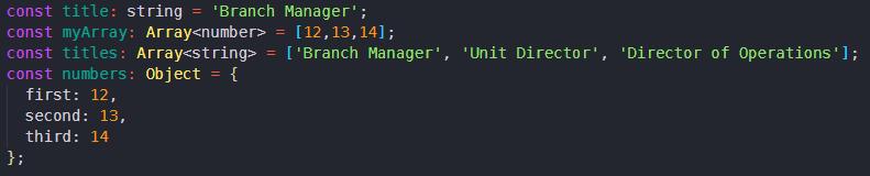 code showing typescript