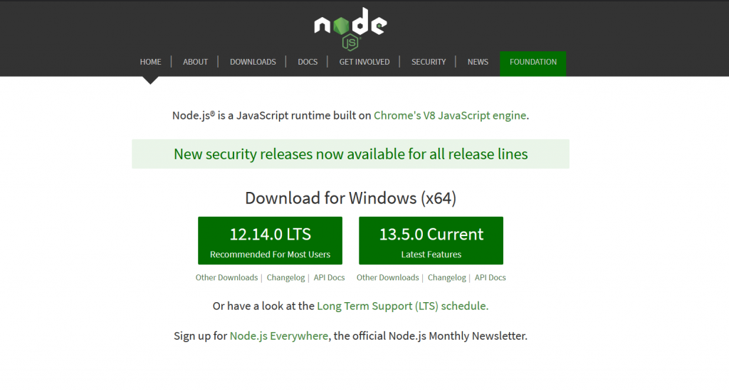 the node js download page