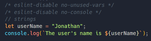 javascript code showing a username variable declaration